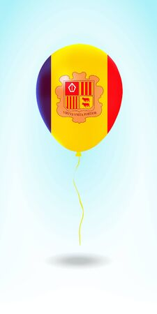 Andorra balloon with flag. Ballon in the Country National Colors. Country Flag Rubber Balloon. Vector Illustration.
