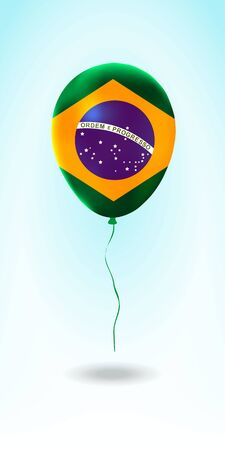 Brazil balloon with flag. Ballon in the Country National Colors. Country Flag Rubber Balloon. Vector Illustration.