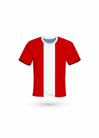 Sport shirt in colors of Peru flag. Vector illustration for sport, championship and national team, sport game