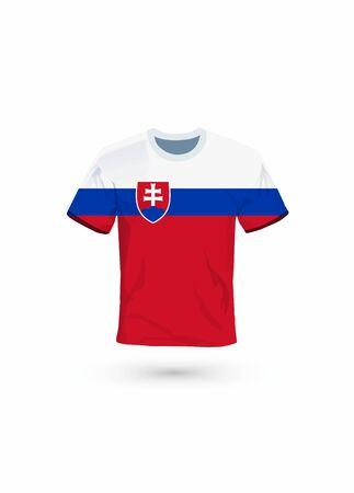 Sport shirt in colors of Slovakia flag. Vector illustration for sport, championship and national team, sport game