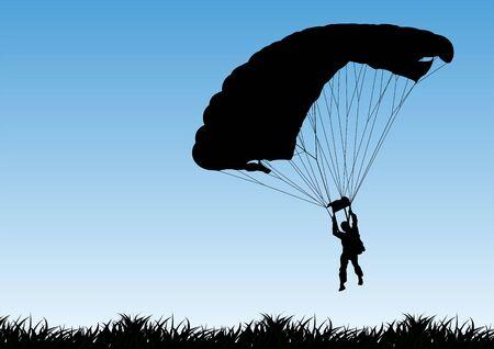 Parachutist silhouette illustration isolated on sky background. Insurance risk concept, Man in air jump Ilustración de vector