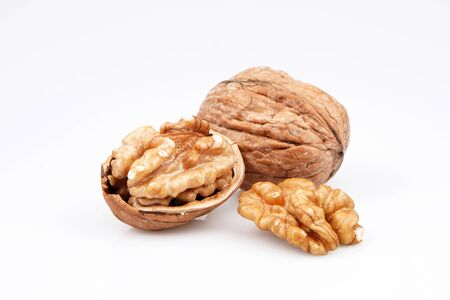 Organic Delicious walnuts, isolated on white background