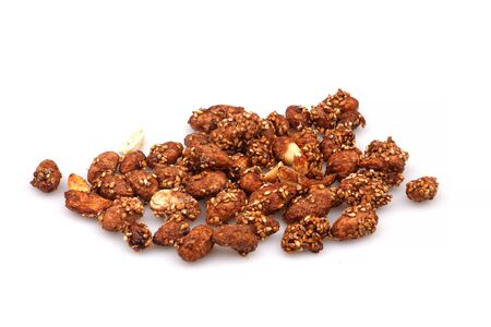 A Group Organic sauce covered peanuts on a white background