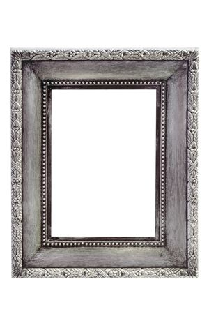 Adorned silver picture frame - isolated on white background
