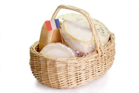 French soft cheese in a basket - isolated on white background Stock Photo