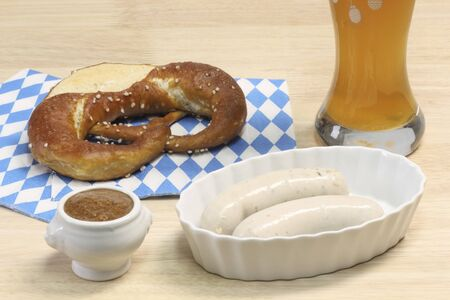 veal sausage: Bavarian veal sausage with mustard, pretzel and beer