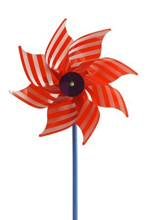 Red wind wheel - isolated on white background Standard-Bild