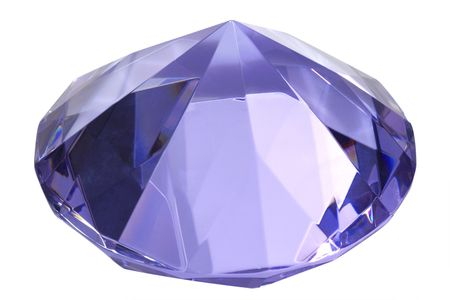 valuables: Blue diamond of glass - isolated on white background
