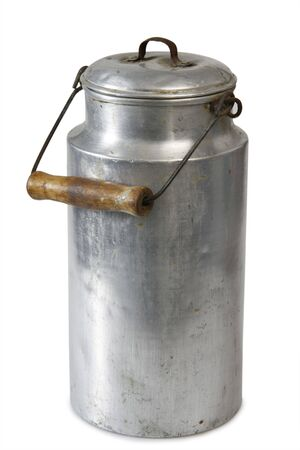 Close-up of a milk can of aluminium Stock Photo