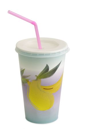 Milkshake in a paper cup - isolated on white background