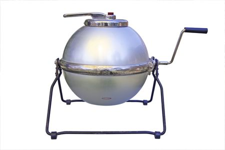 Old washing machine with crank - isolated on white background