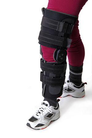 Leg with knee brace