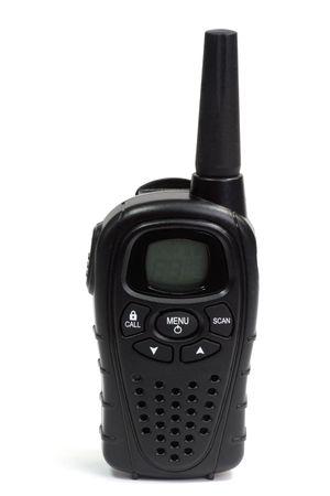 walkie talkie: Black walkie talkie - isolated on white background