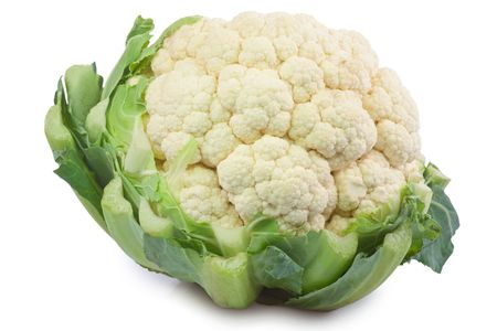 Closeup of a cauliflower - isolated on white background