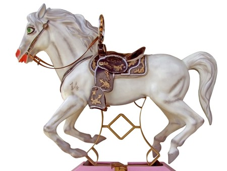 White merry-go-round horse - isolated on white background