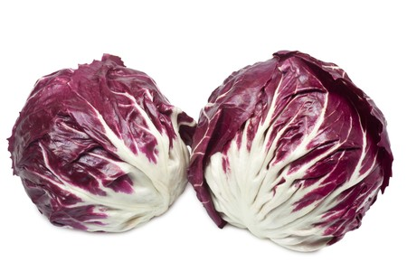 Closeup of radicchio - isolated on white background