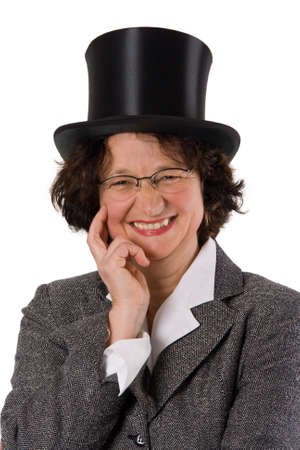 stovepipe: Laughing woman with stovepipe hat - isolated on white