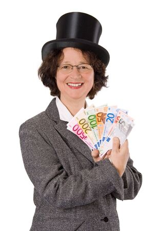 stovepipe: Businesswoman with stovepipe hat presenting Euros - isolated
