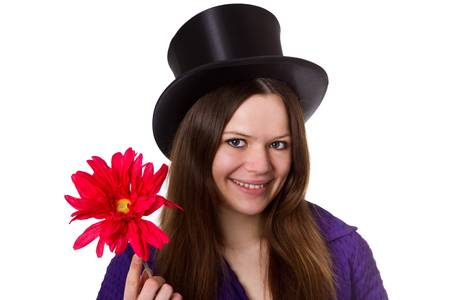stovepipe hat: Young woman with stovepipe hat holding a red flower - isolated