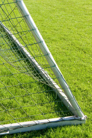 Close-up of a goal on grass photo