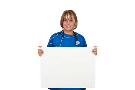 Nurse holding white board - isolated Stock Photo - 14333129