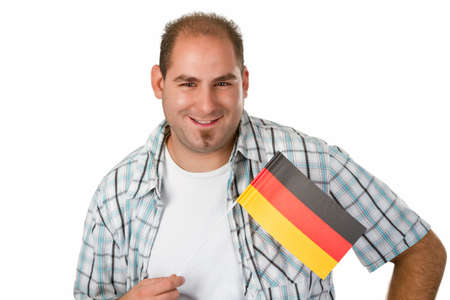 Man with German flag - studio isolated Stock Photo - 14937559