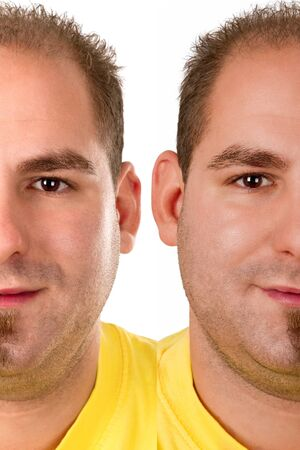 interchanged: Interchanged sides of a young man Stock Photo