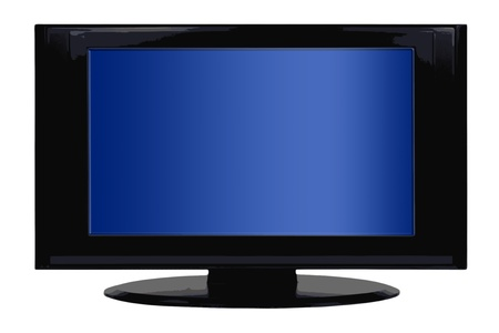 television set: Black flatscreen tv with blue display - isolated Stock Photo