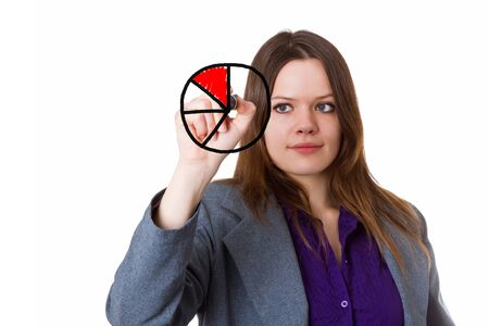 Young woman drawing pie chart on a glass panel - isolated photo