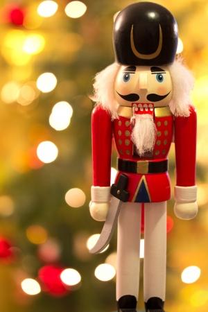 nutcracker: Nutcracker over christmas bokeh background