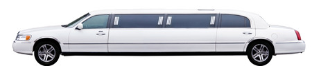 White stretch limousine isolated on white background