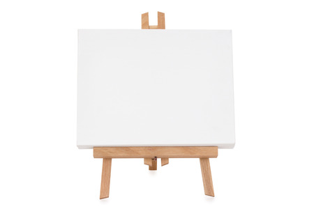 Easel with white canvas - isolated Standard-Bild