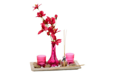 perfumed candle: Pink home decoration with different accessories - isolated