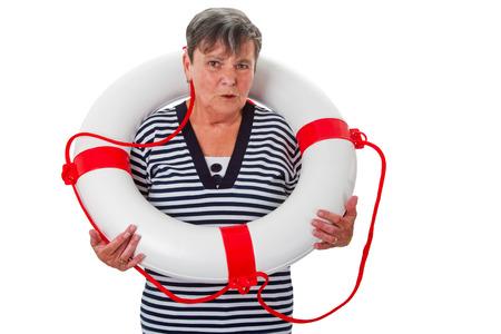 lifesaver: Senior woman with lifesaver - isolated