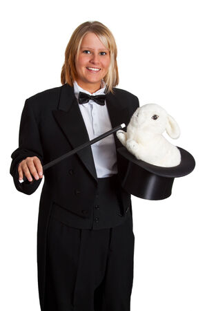 stovepipe hat: Young woman with tailcoat and stovepipe hat - isolated Stock Photo