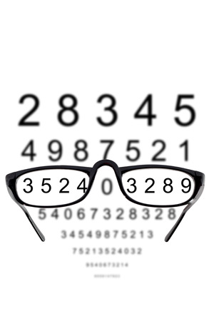 Glasses against cloudy background of numbers