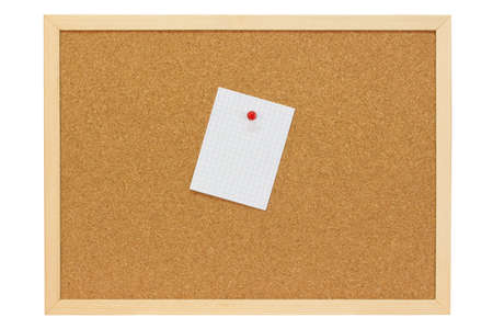 cork sheet: White note sheet with red pushpin on a pin board - isolated