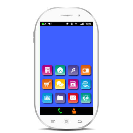 smartphone apps: White smartphone with blue display and apps