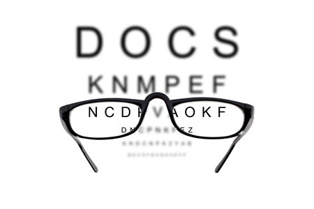 Glasses against cloudy background of letters