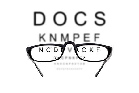 hyperopia: Occhiali contro sfondo nuvoloso di lettere