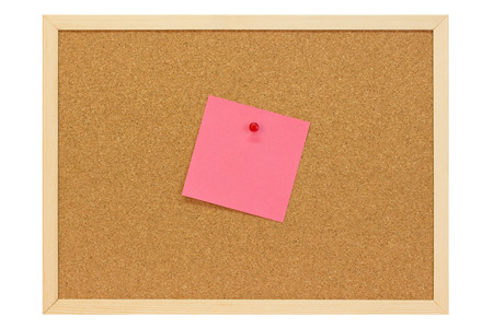 Note on a pin board - isolated on white background Stock Photo