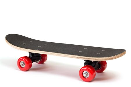 white red: skateboard with red wheels on white background