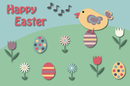 singing bird: Easter greeting card with singing bird on an Easter egg