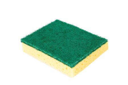 fregando: Fregar esponja - aislado en fondo blanco