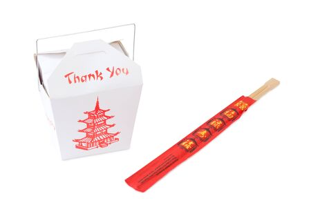 chop sticks: Chinese snack in a paper box with chop sticks - isolated on white background