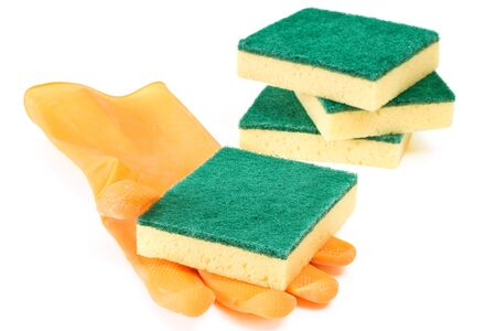 scouring: Scouring sponges with rubber glove on white background