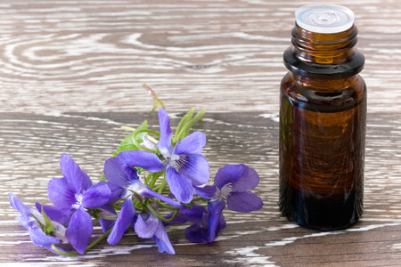 violets: Dropper bottle of bach flower essence on wooden background with blossoms
