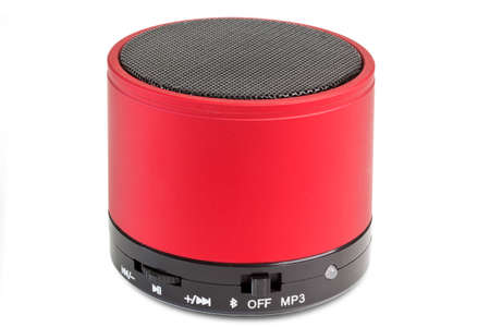 portable computers: Black and red Bluetooth loudspeaker - isolated on white background