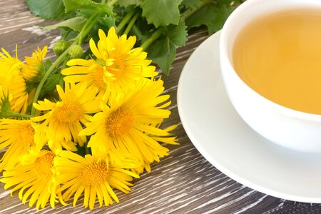 naturopathy: Bunch of coltsfoot near cup of herb tea on wooden background Stock Photo