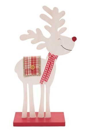 isolated  on white: Wooden reindeer with red nose isolated on white background Stock Photo